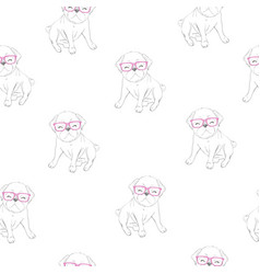 cute pug pattern vector image