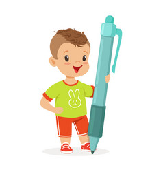 Cute smiling little boy holding giant blue pen vector