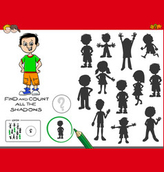 educational shadows game with cute boy vector image