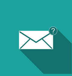 envelope with question mark icon with long shadow vector image