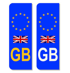 Eu number plate identifier for great britain vector