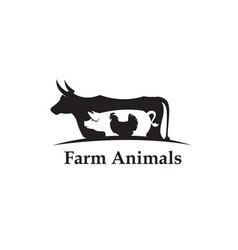 farm animals label vector image