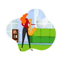 Female saxophonist playing jazz melody on sax vector