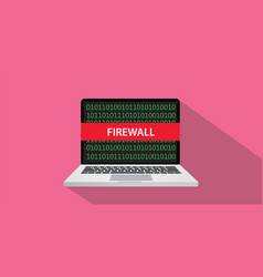 Firewall concept with laptop comuputer and text vector