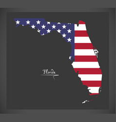 Florida map with american national flag vector