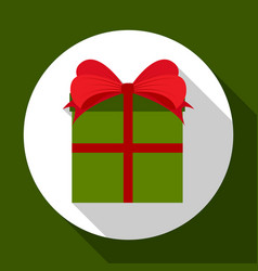 gift box with a bow on green background with long vector image