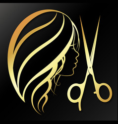 Girl and golden scissors beautiful silhouette vector