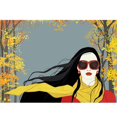 Girl with yellow scarf vector image