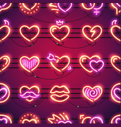 glowing neon hearts seamless background vector image