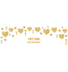 Golden hearts frame border glitter vector