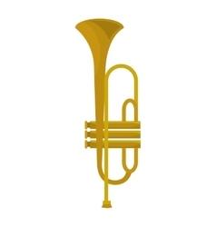 Golden trumpet music instrument icon design vector image