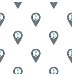 Gray map pointer with anchor symbol pattern flat vector