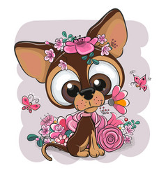 Greeting card puppy with flower on a pink vector