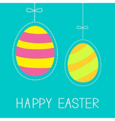 Hanging easter eggs with dash line and bow vector image