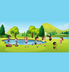 Happy children playing in park vector