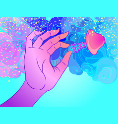 human hand holding magic mushroom over psychedelic vector image