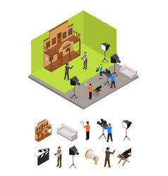 Interior television studio and elements part vector