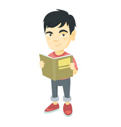 little asian schoolboy reading a book vector image