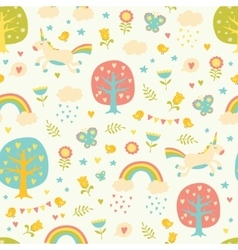 Lovely seamless pattern with cute unicorns vector image
