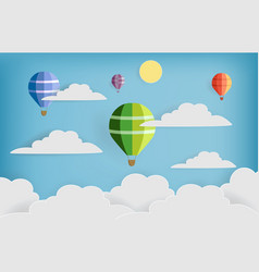 made colorful sky with balloon and cloud paper art vector image