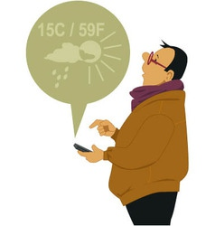 Man checking the weather on his smart-phone vector
