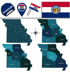 Map of missouri with regions vector