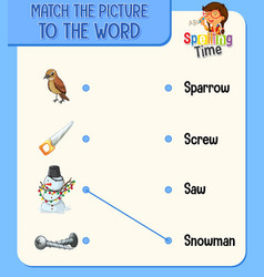 Match picture to word worksheet vector