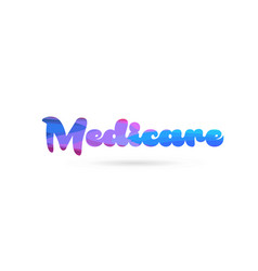 Medicare pink blue color word text logo icon vector