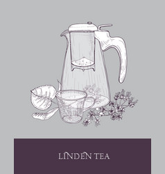 Monochrome drawing of glass teapot or jug with vector