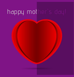 Mothers day card - red heart with shadow and text vector