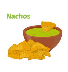 Nachos mexican chipssauce salsa flat style vector