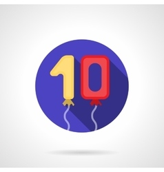 Numerals balloons flat round icon vector image