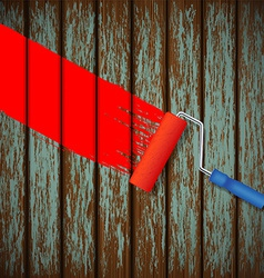 Paint roller and an old wooden fence vector