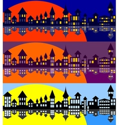 Panorama of the old city Set vector image