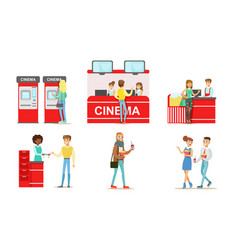 people going to cinema or movie theatre set vector image