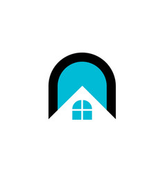 real estate letter n and window house logo vector image