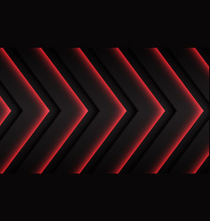 red neon arrow pattern direction on dark grey vector image