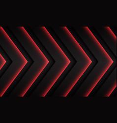 Red neon arrow pattern direction on dark grey vector