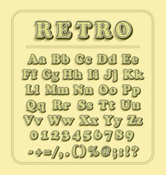 Retro font on light yellow background the vector