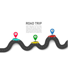 Road trip map with car and pin location roadmap vector