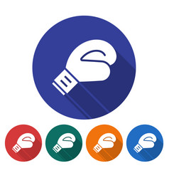 round icon boxing glove flat style with long vector image