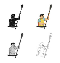 Rower in a boat with a paddle in hand down to the vector