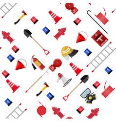 Seamless firefighting set pattern vector