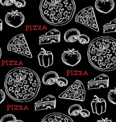 Seamless pizza pattern retro design vector