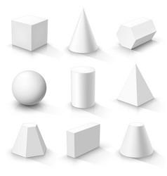 Set of basic 3d shapes vector