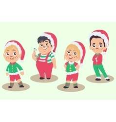 Set of Christmas elves isolated on white vector