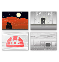 set of scenes for couple of love in different time vector image