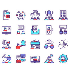 set teamwork related linear icons vector image