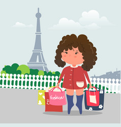 shopping girl in paris and eiffel tower flat vector image