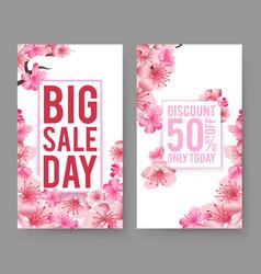 spring sale banners sakura flowers flyers vector image